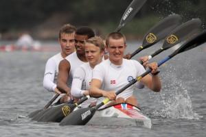 Norges K4 (Harald, Marcus, Hakeem og Mathias). Bildet er fra 2014.  Foto: Christin Aronsen
